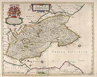 Cowdenbeath - Blaeu Map of Fife by Joan Blaeu
