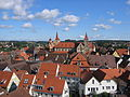 Blick über Teile der Innenstadt von Ellwangen auf die Basilika St. Vitus.JPG