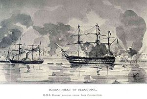 John Edmund Commerell - The bombardment of Sevastopol at which Commerell was present: he was awarded the Victoria Cross for his bravery during the Crimean War