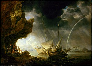 Bonaventura Peeters the Elder - Seascape with Sailors Sheltering from a Rainstorm