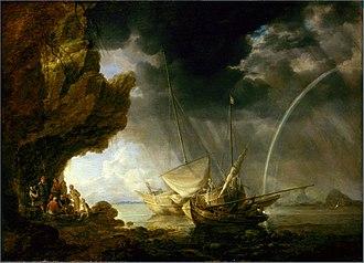 Bonaventura Peeters the Elder - Seascape with Sailors Sheltering from a Rainstorm