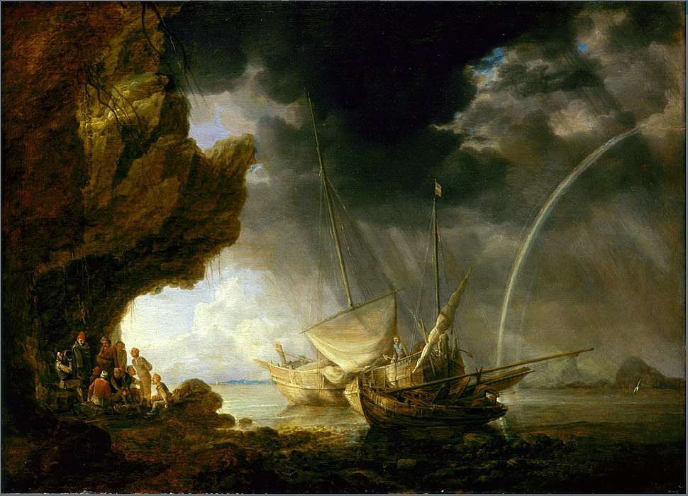 Bonaventura Peeters (I) - Seascape with Sailors Sheltering from a Rainstorm