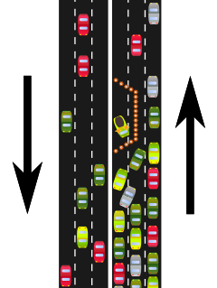 Diagram comparing free flowing traffic in one direction to a bottleneck in the other, which forces all the cars into one lane