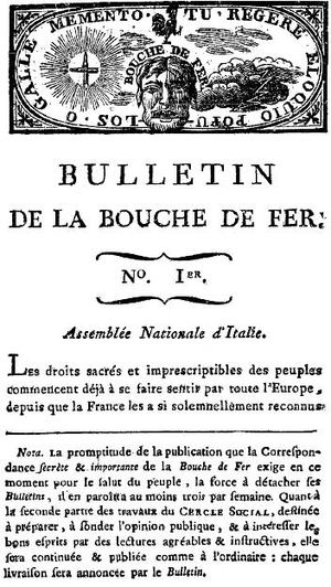 Society of the Friends of Truth - First issue of La Bouche de fer (Mouth of Iron)