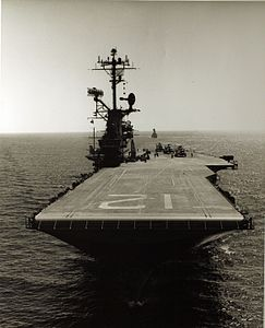 Bow view of USS Hornet (CVS-12) at sea in the 1960s.jpg