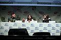 Brad Peyton, Carla Gugino & Alexandra Daddario (16435170444).jpg