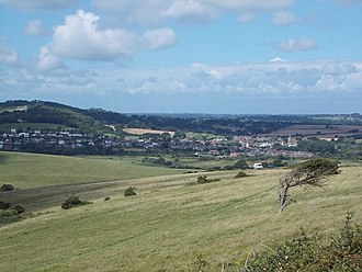 Brading - View of Brading from Culver Down, looking west, with Brading Down to the left of the picture behind the village
