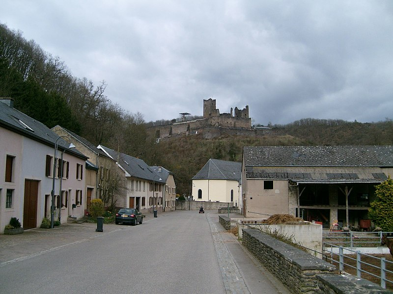 "The village and castle of Brandenbourg, Luxembourg. View from south-west, street named ""Schlapp""."