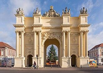 Brandenburg Gate (Potsdam) - Brandenburg Gate from the field side by Georg Christian Unger