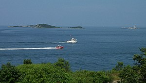 Great Brewster Island - Great Brewster Island (left), Middle Brewster Island (left rear) and Little Brewster Island (right, with lighthouse) in Boston Harbor as viewed from Fort Warren on Georges Island.