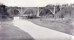 The Middle Road - Bronte Creek Bridge, 1936. The old Middle Road bridge is visible in the foreground.