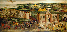 Peinture panoramique avec des éléments allégoriques d'un paysage vallonné où se trouvent des constructions extravagantes et des personnes richement habillées.