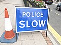 Broad Street, Birmingham - tunnel closure blockages - sign - Police Slow (9429166373).jpg