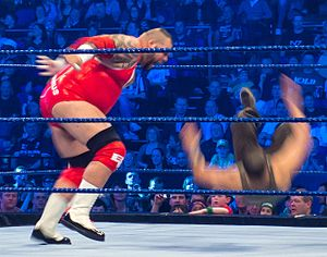 Tyrus (wrestler) - Clay performing a battering ram on Hunico