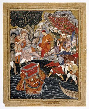 Hamza ibn Abdul-Muttalib - Brooklyn Museum - Arghan Div Brings the Chest of Armor to Hamza