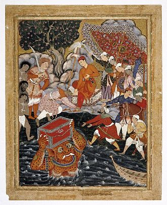 Abd al-Samad - Arghan Div Brings the Chest of Armour to Hamza, from Volume 7 of the Hamzanama, supervised by Samad.