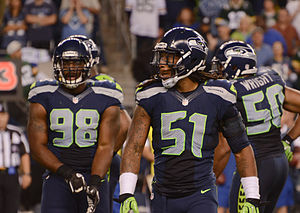 2012 Seattle Seahawks season - Greg Scruggs and Bruce Irvin during the Green Bay game