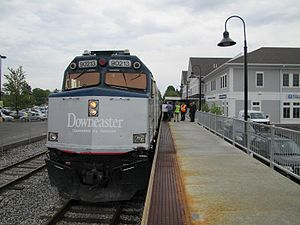 Brunswick Maine Street Station - An Amtrak Downeaster train at Brunswick Station
