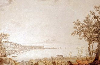 Italian Journey - The Gulf of Naples from Vesuvius, by Goethe's artist friend Christoph Heinrich Kniep