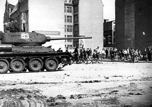 Uprising of 1953 in East Germany - A Soviet T-34/85 tank in East Berlin, 17 June 1953.