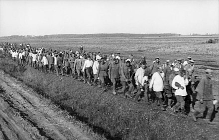 A column of Soviet POWs near Lwow in July 1941. Bundesarchiv Bild 101I-187-0203-06A, Russland, Russische Kriegsgefangene.jpg