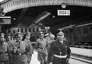 Otto-Heinrich Drechsler - Otto Heinrich Drechsler (extreme left) at Riga railway station, with other Nazi officials, including Hinrich Lohse and Friedrich Jeckeln.