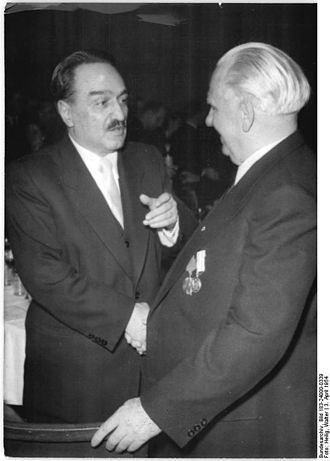 Anastas Mikoyan - Mikoyan talking to Wilhelm Pieck in East Berlin, East Germany, 1954.
