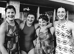 History of competitive swimwear - East German swimmers wearing skinsuits at the 1976 national championships
