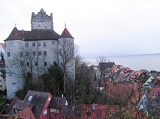 Meersburg Castle - Northwest side of the castle, Lake Constance is in the background