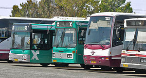 Egged (company) - Parked Egged buses at a bus depot in Israel