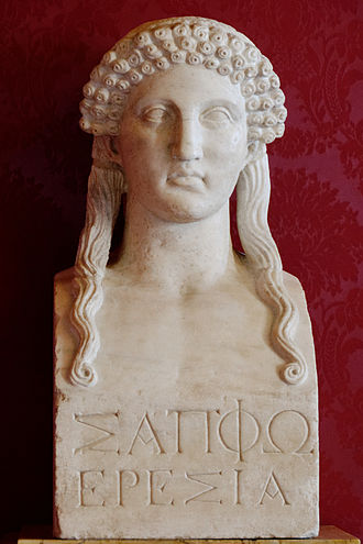 """Brothers Poem - A Roman sculpture of Sappho, based on a Classical Greek model.  The inscription reads Σαπφω Ερεσια, or """"Sappho of Eresos""""."""