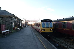 Butterley railway station, Derbyshire, England -train at platform-19Jan2014 (2).jpg