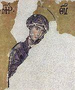 Mère de Dieu   (ΜΡ ΘΥ), mosaïque dans Hagia Sophia, Istanbul.