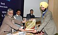 C.P. Joshi presented the Road Safety Awards, at the valedictory function of 24th Road Safety Week, in New Delhi. The Minister of State for Road Transport and Highways, Shri Tusharbhai Chaudhary is also seen (2).jpg