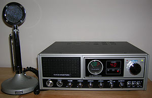 Transmitter - A CB radio transceiver, a two way radio transmitting on 27 MHz with a power of 4 W, that can be operated without a license