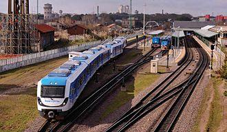 Belgrano Sur Line - A CNR Diesel Multiple Unit leaving Buenos Aires station