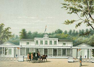Istana Negara (Jakarta) - Lithograph of Paleis Rijswijk in the 1880s (now Negara Palace)