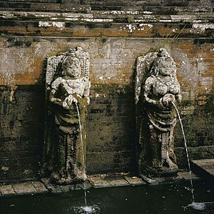 Subak (irrigation) - Balinese water-spout statue in Goa Gajah petirtaan (sacred bathing pool).