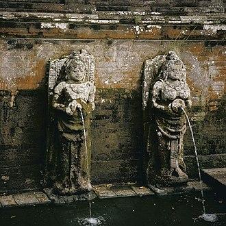 Subak (irrigation) - Balinese water-spout statue in Goa Gajah petirtaan (sacred bathing pool).