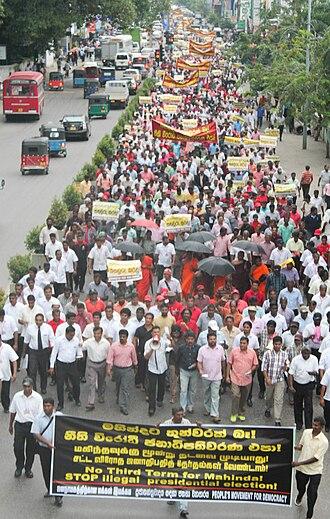 Sri Lankan presidential election, 2015 - Protest against Rajapaksa seeking a third term, 18 November 2014