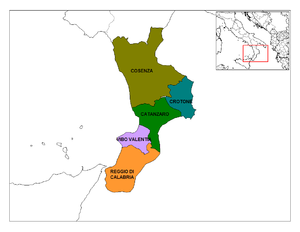 "Provinces of Calabria in the ""toe"" o..."