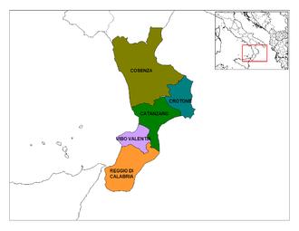 Calabrian wine - Provinces of Calabria