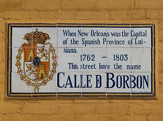 Bourbon Street - Tile mosaic explaining that the name of the street was Calle de Borbón when New Orleans was capital of the Spanish Province of Luisiana 1762-1803.