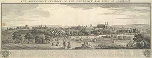 Timeline of Cambridge - View of Cambridge, 1743