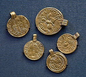Canterbury-St Martin's hoard - Replicas of coin-pendants from the hoard, in the British Museum.