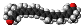 Space-filling model of the canthaxanthin molecule