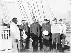 Captain Lorenz Peters addressing his officers on board MAGDALENE VINNEN (9061359333).jpg