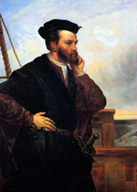 Portrait de Jacques Cartier par Th�ophile Hamel, env. 1844.