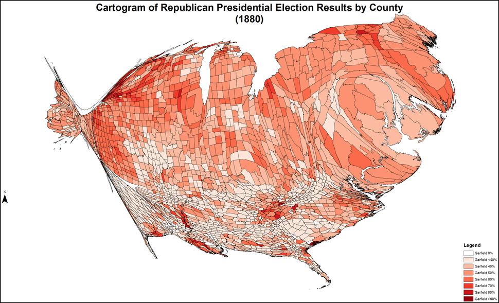 CartogramRepublicanPresidentialCounty1880Colorbrewer