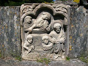 Lavatorium - Image: Carving, Wenlock Priory